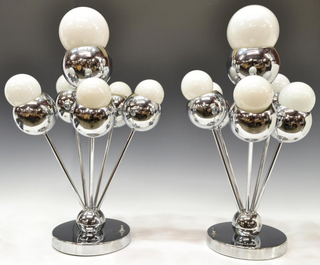 (PAIR) ITALIAN MID-CENTURY MODERN CHROME LAMPS