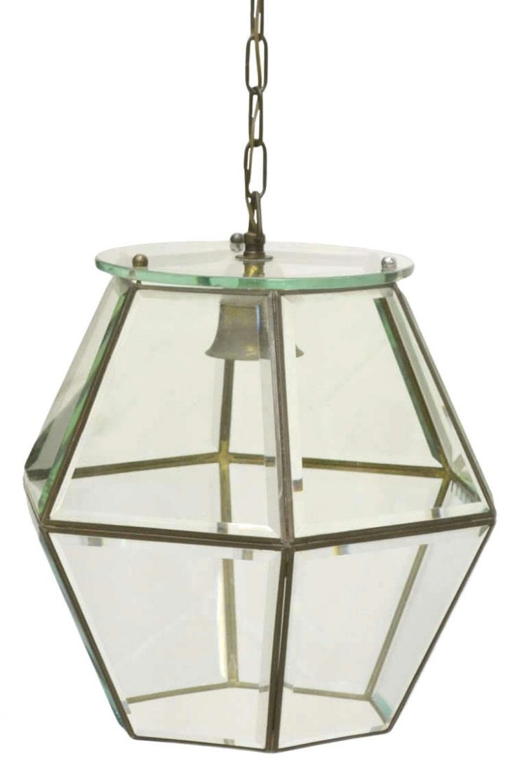 ITALIAN BRASS & GLASS ONE-LIGHT HANGING LANTERN