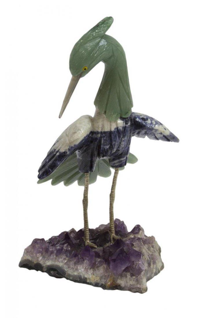 LARGE CARVED GEMSTONE BIRD ON AMETHYST BASE