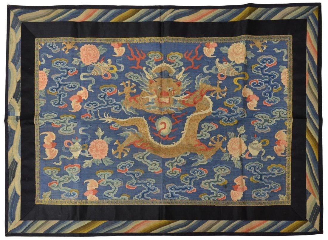 CHINESE BLUE SILK POLYCHROME KESI DRAGON PANEL