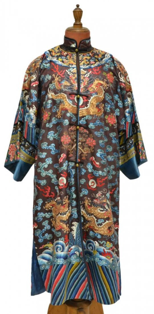 CHINESE BROWN SILK ROBE, COUCHED GOLD DRAGONS