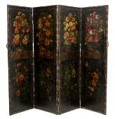 FOUR PANEL FLORAL PAINTED LEATHER SCREEN