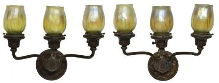 (PAIR) METAL WALL SCONCES WITH ART GLASS SHADES