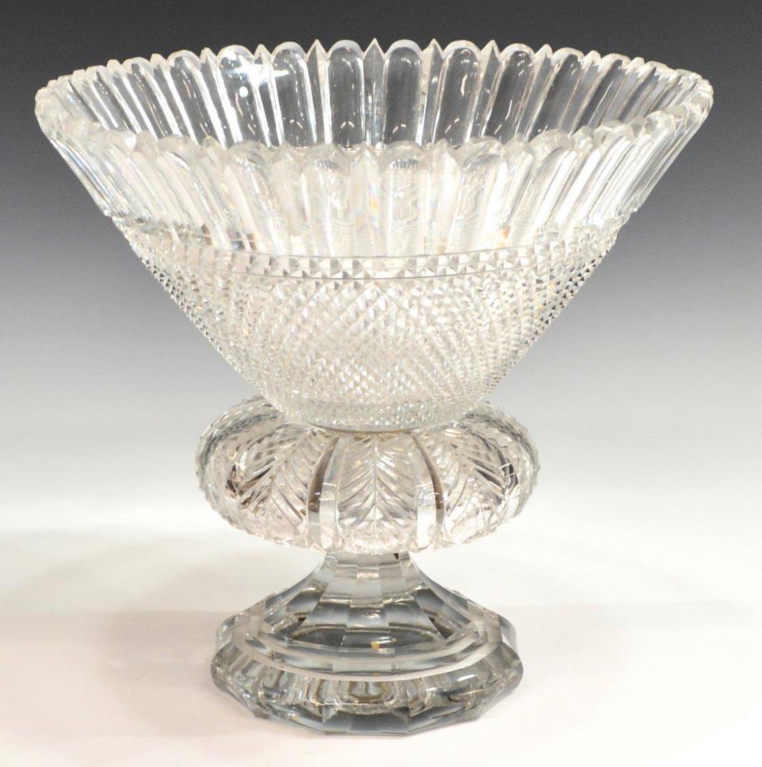 LARGE HEAVILY CUT GLASS CENTERPIECE BOWL