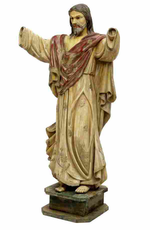 ANTIQUE RELIGIOUS FRENCH COLONIAL STATUE, CHRIST