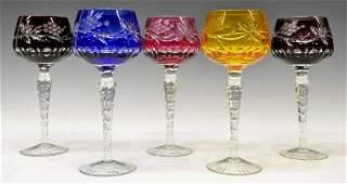 (5) BOHEMIAN CUT TO CLEAR COLORED GLASS STEMWARE
