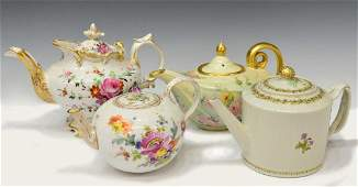 (4) COLLECTION OF ASSORTED PORCELAIN TEAPOTS