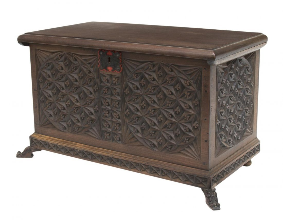 SPAIN GEOMETRIC FLORAL CARVED TABLE BOX