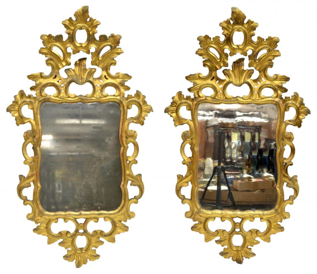 (2) 18TH C. SPAIN ROCAILLE CARVED GILTWOOD MIRRORS