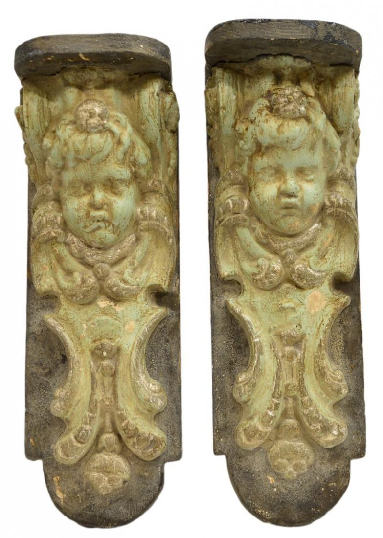 (2) ARCHITECTURAL CHERUB MASK WALL CORBEL SHELVES