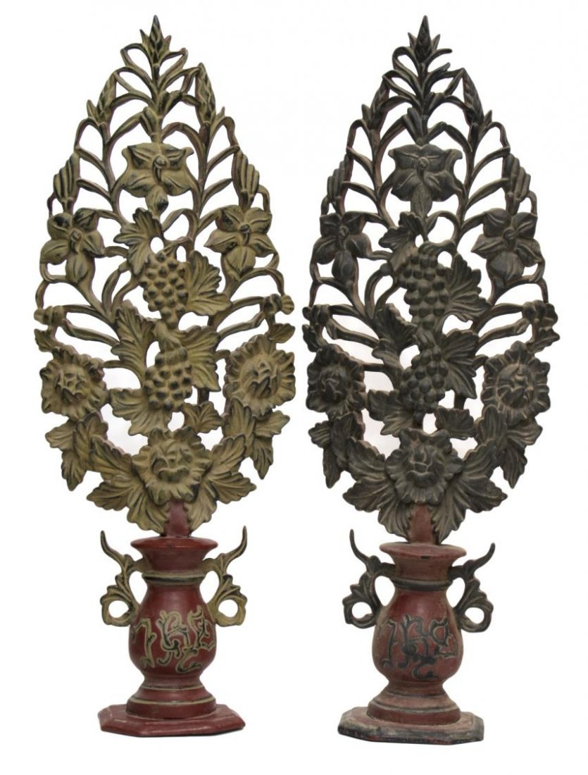 (2) FRENCH COLONIAL CARVED ALTAR DECORATIONS