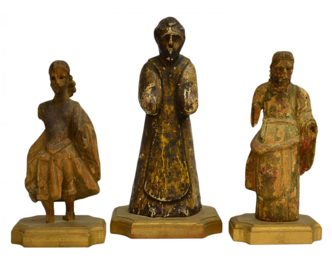 (3) ANTIQUE CARVED WOOD RELIGIOUS FIGURES