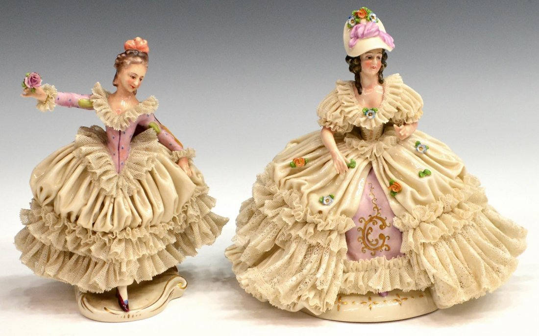 (2) CONTINENTAL DRESDEN LACE STYLE BEAUTIES