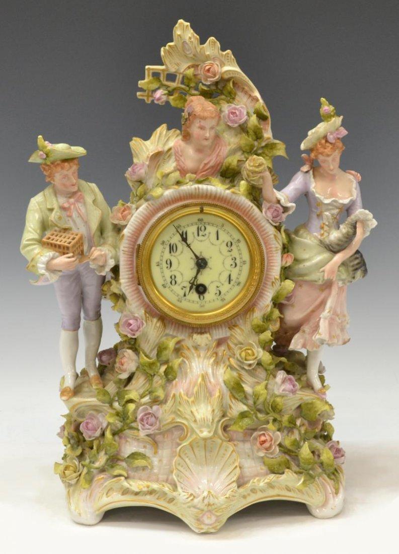 VON SCHIERHOLZ FIGURAL PORCELAIN MANTLE CLOCK