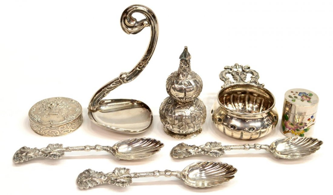 (8) CHINESE SILVER DOUBLE GOURD SHAKER & SILVER