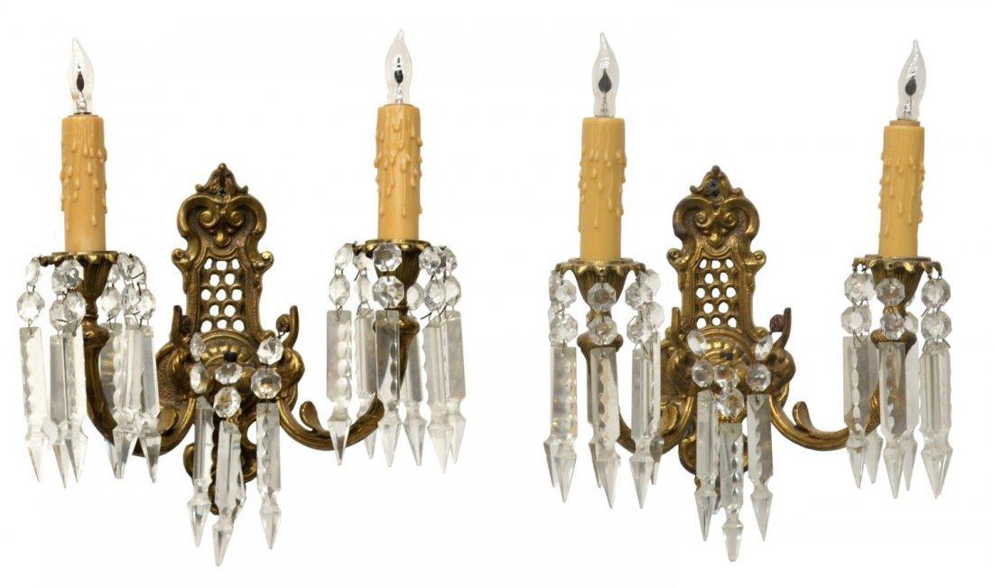 (2)FRENCH LOUIS XVI STYLE GILT METAL PRISM SCONCES
