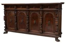 ANTIQUE FIGURAL CARVED ITALIAN SIDEBOARD