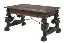HIGHLY CARVED SPANISH LIBRARY DESK WINGED GRIFFINS