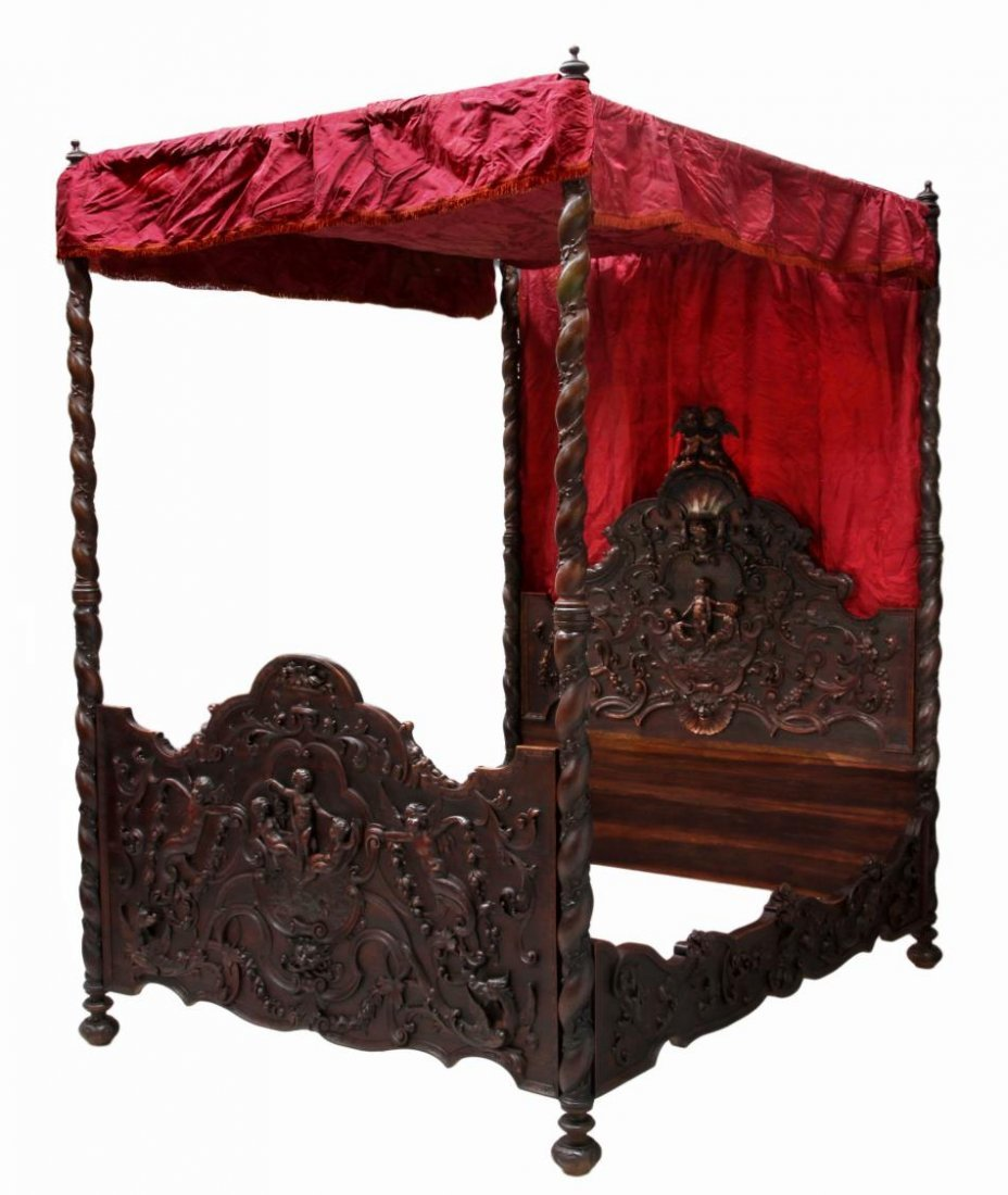 BAROQUE STYLE CARVED CANOPY POSTER BED, 19TH C.