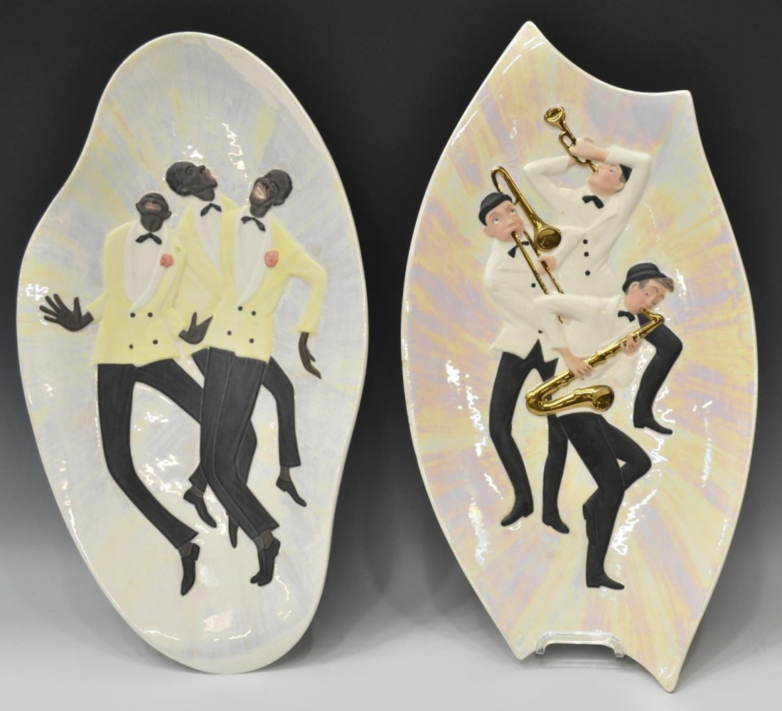 (2) VINTAGE ITALIAN WALL CHARGERS WITH MUSICIANS