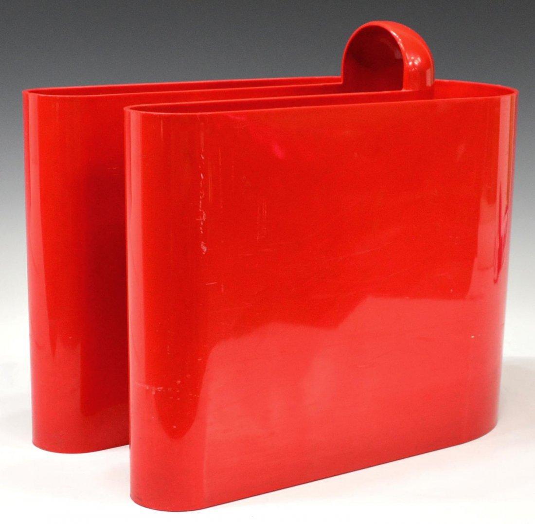 BONETTO MID-CENTURY RED PLASTIC MAGAZINE RACK