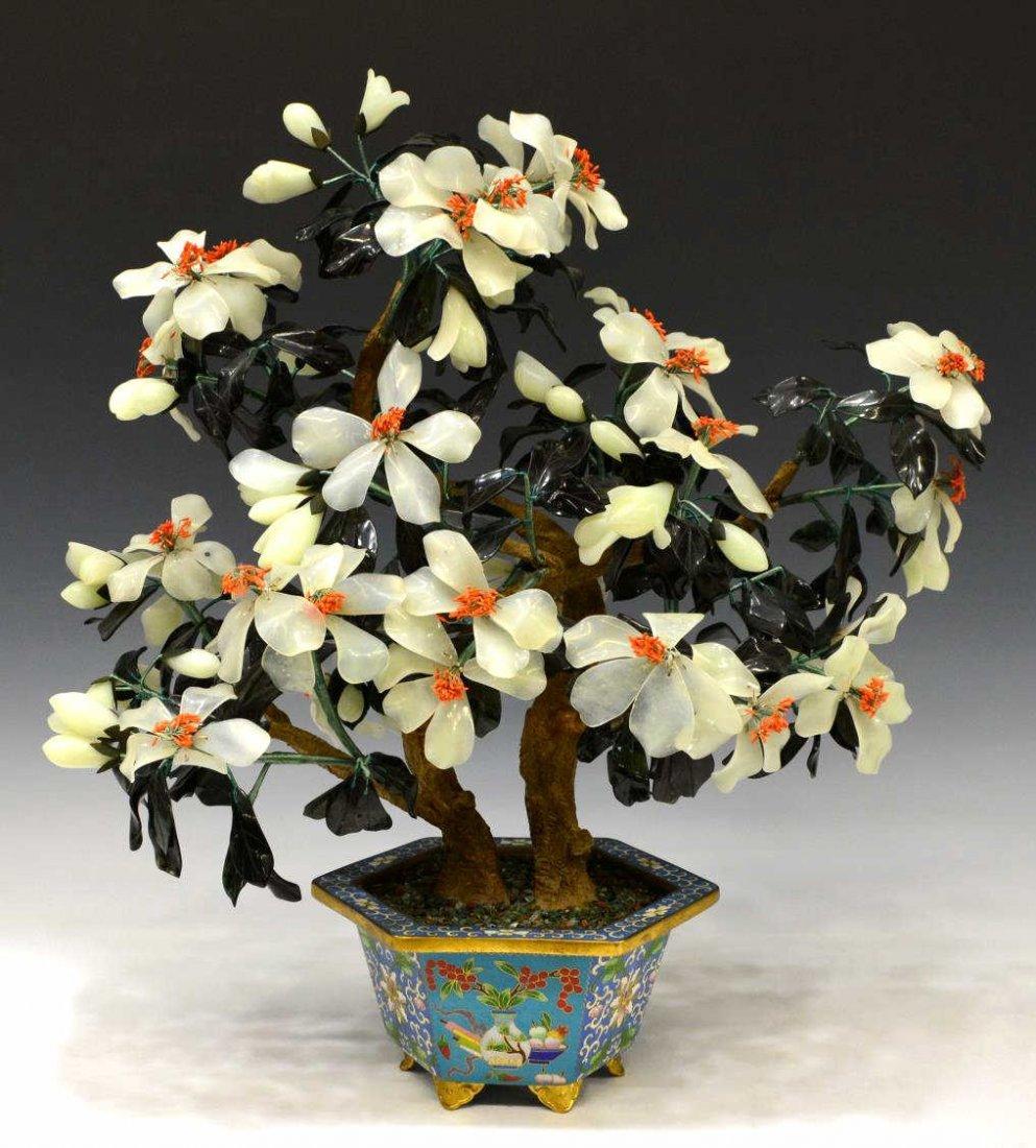 LARGE CHINESE FLOWERING HARDSTONE TREE CLOISONNE