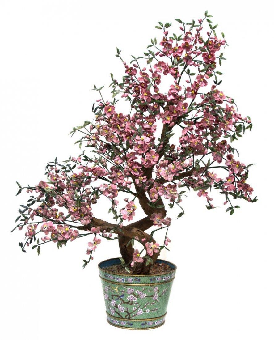 CHINESE RHODONITE HARDSTONE TREE