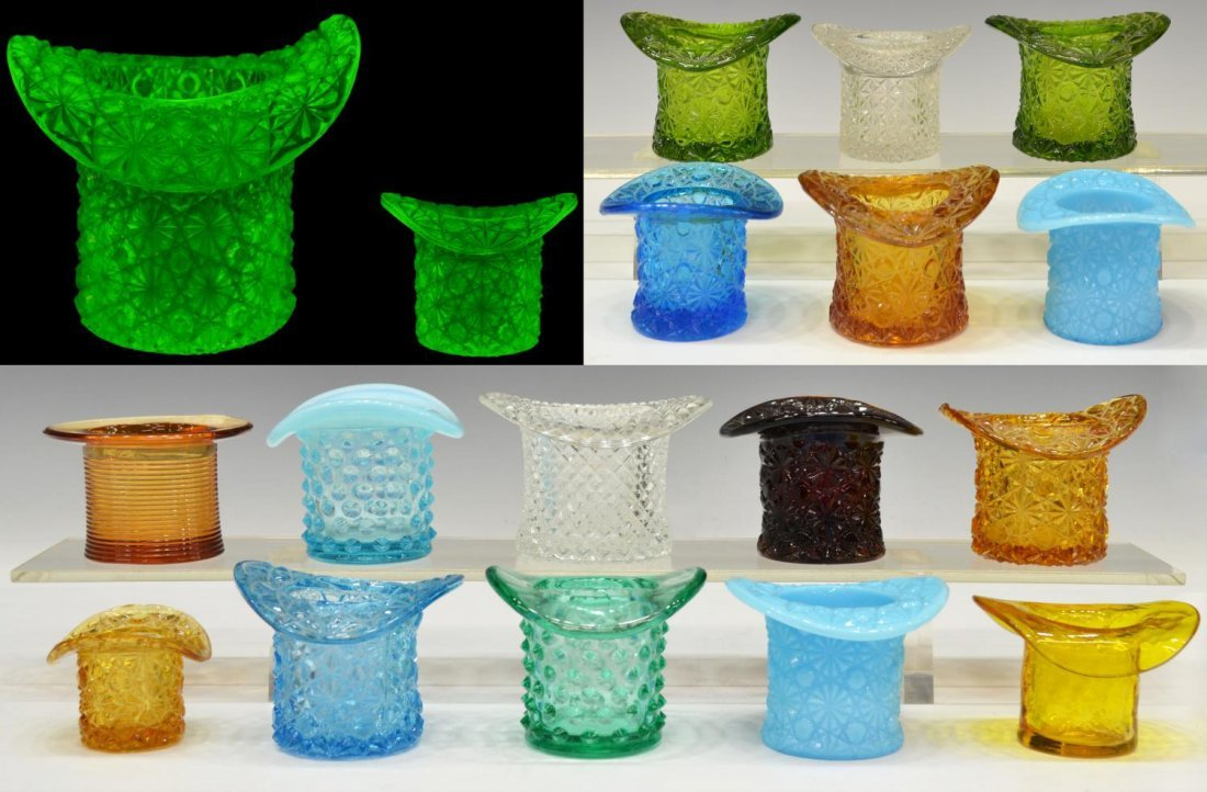 (18)VINTAGE COLORED & PATTERNED ART GLASS TOP HATS