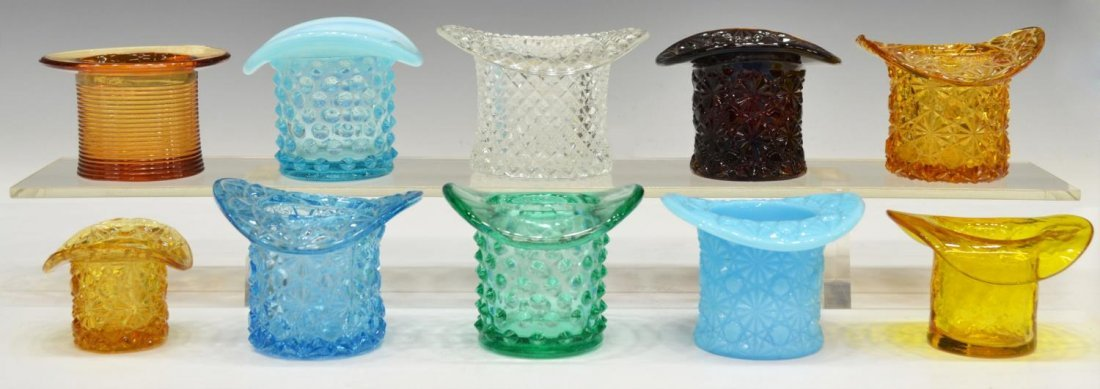 (18)VINTAGE COLORED & PATTERNED ART GLASS TOP HATS - 2