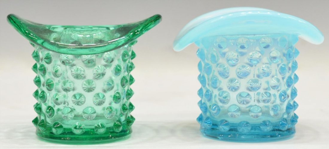 (18)VINTAGE COLORED & PATTERNED ART GLASS TOP HATS - 3