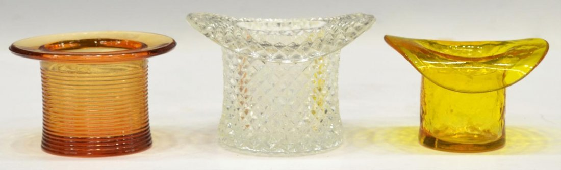 (18)VINTAGE COLORED & PATTERNED ART GLASS TOP HATS - 5
