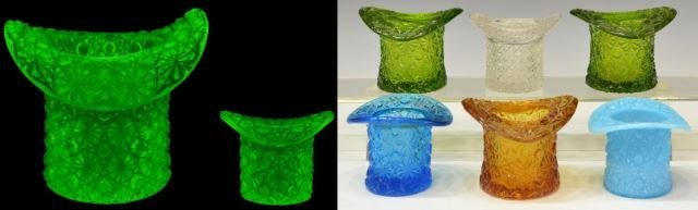 (18)VINTAGE COLORED & PATTERNED ART GLASS TOP HATS - 8