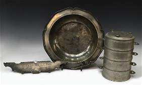 (3) COLLECTION OF ANTIQUE PEWTER SERVICEWARE
