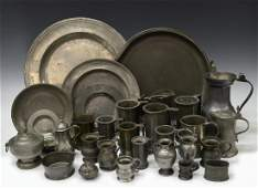 HUGE COLLECTION ANTIQUE PEWTER SERVICE ITEMS