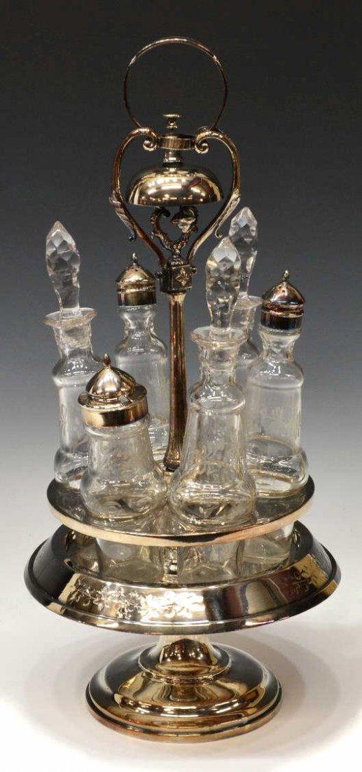 AMERICAN VICTORIAN SILVERPLATE & GLASS CASTOR SET