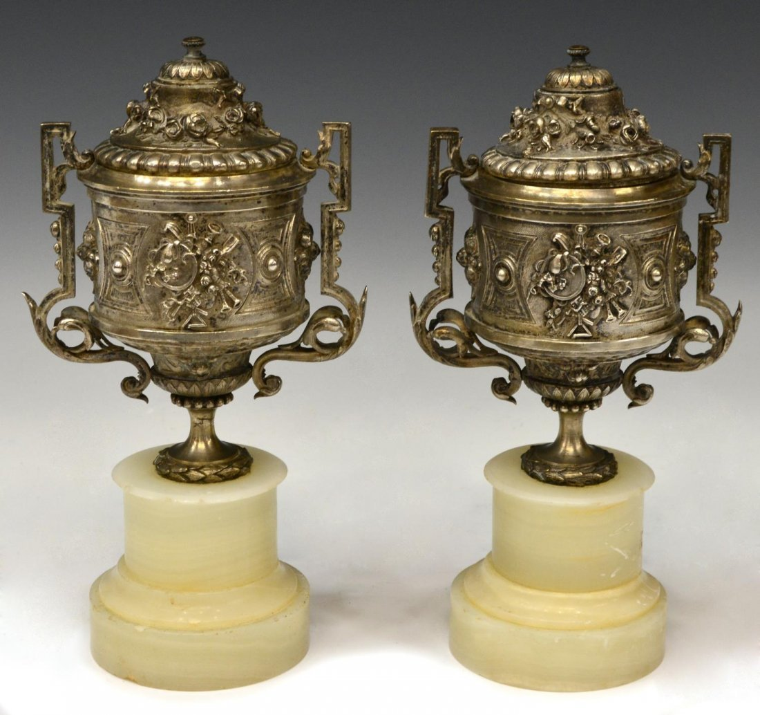 (2) LOUIS XV STYLE SILVERED METAL LIDDED URNS