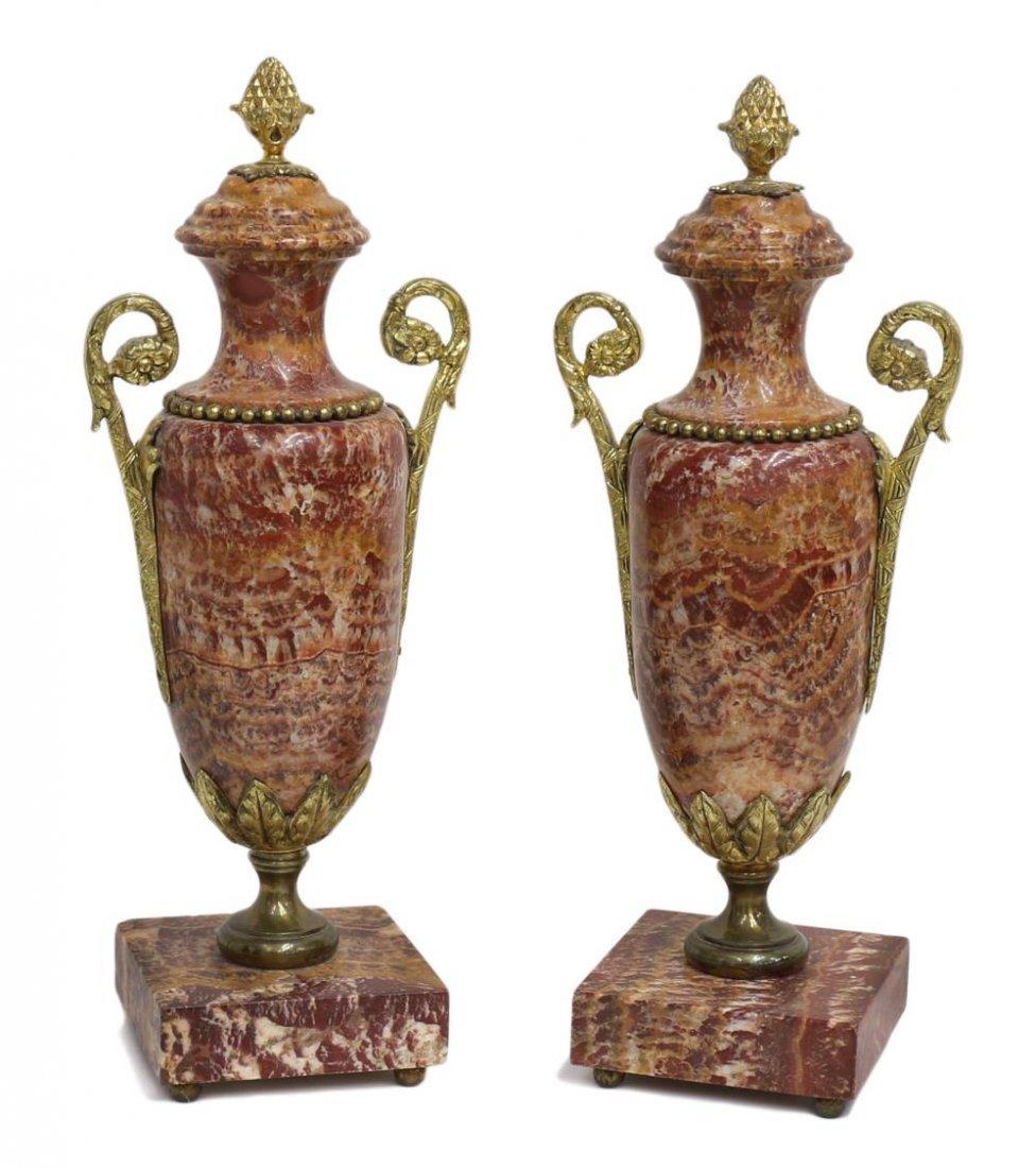 (2)LOUIS XVI SYTLE MARBLE & GILT METAL CASSOLETTES