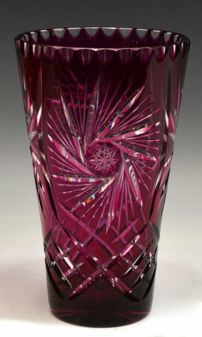 LARGE BOHEMIAN CRANBERRY CUT TO CLEAR VASE