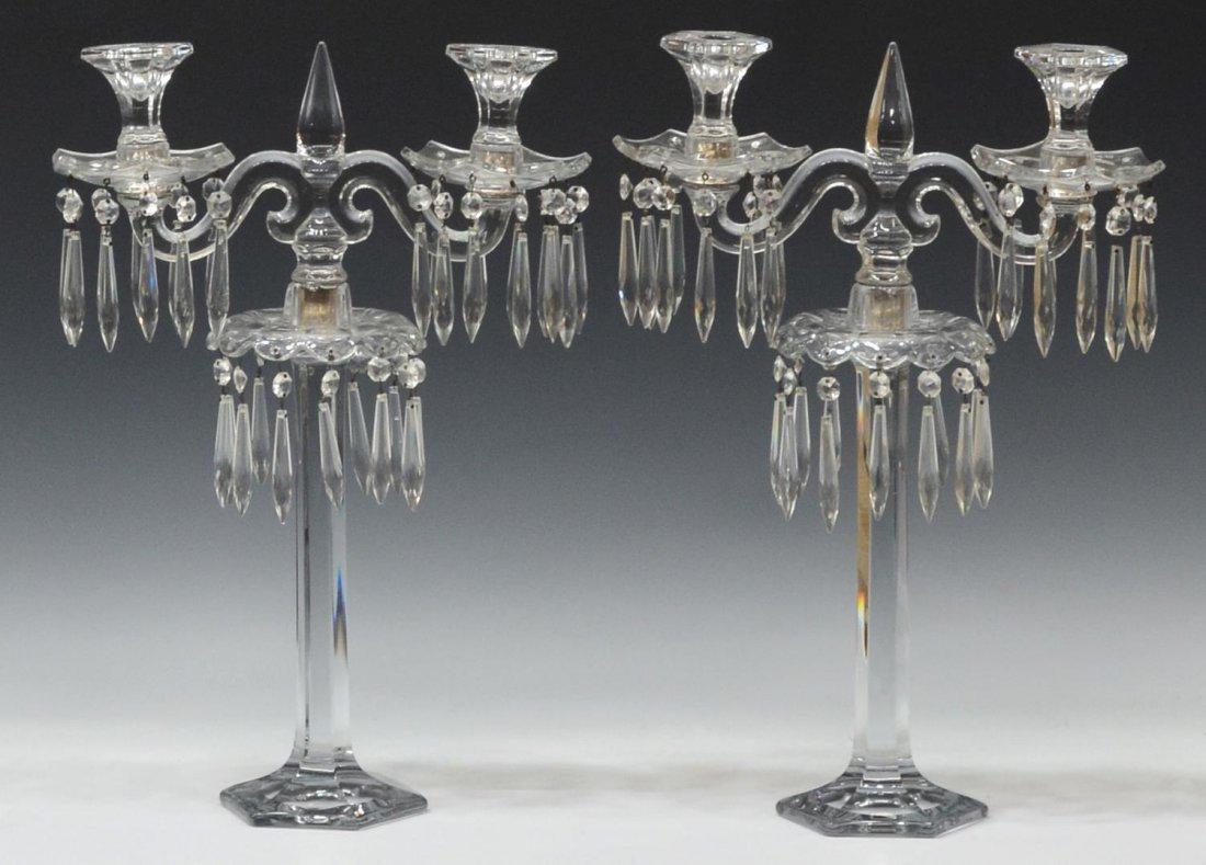 (2) FINE COLORLESS GLASS PRISM CANDELABRA