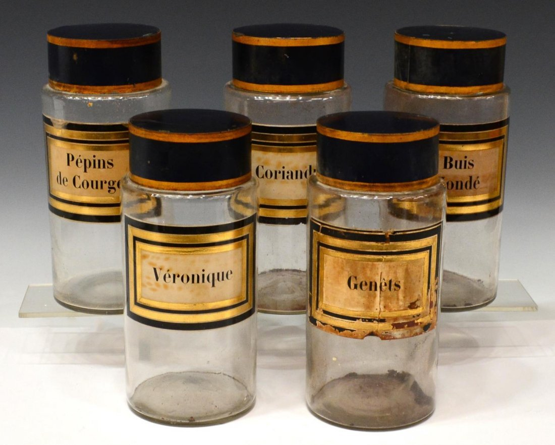 (5) FRENCH GLASS APOTHECARY JARS