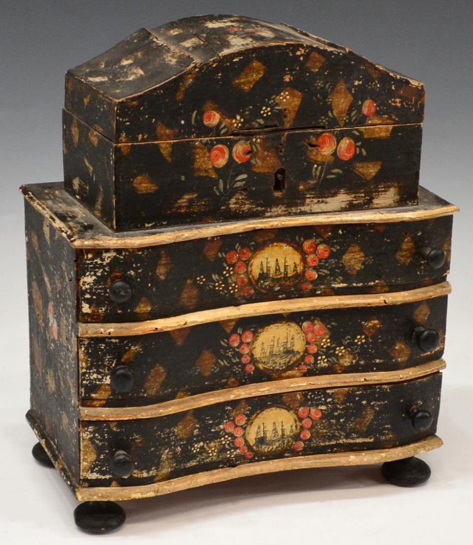 18TH / 19TH C. PAINTED MINIATURE CHEST JEWEL BOX