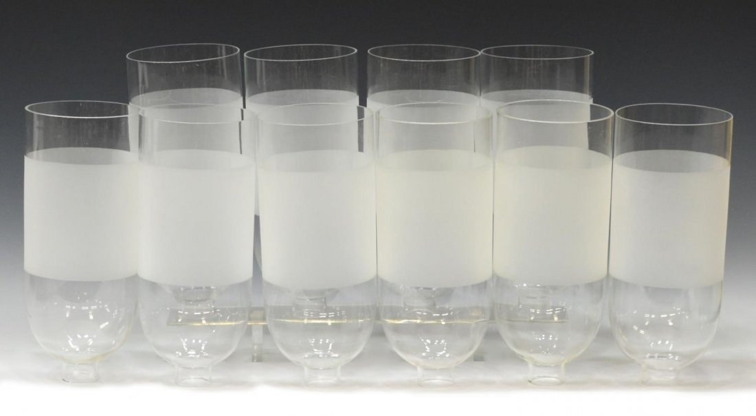 (10) COLORLESS & FROSTED GLASS HURRICANE SHADES