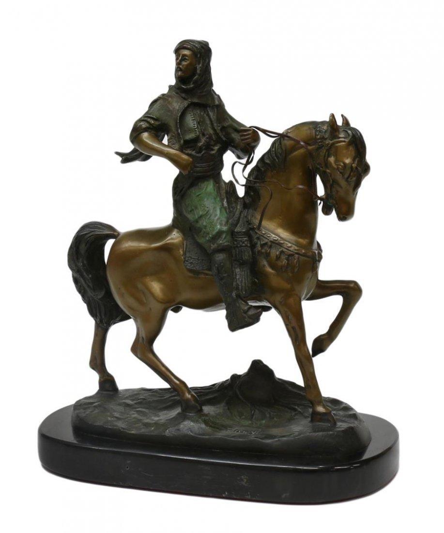 AFER BAYER, ARAB ON HORSE, ORIENTALIST BRONZE