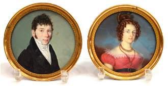 MINIATURE PORTRAITS OF A LADY & GENTLEMAN
