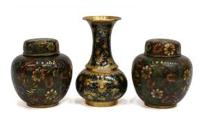 (3) CHINESE CLOISONNE ENAMEL GINGER JARS & VASE