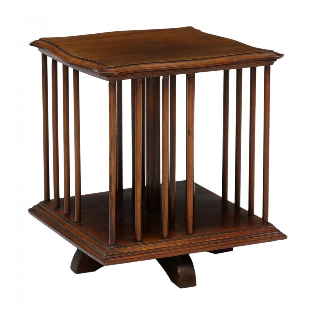 MAHOGANY TABLE TOP REVOLVING BOOK STAND