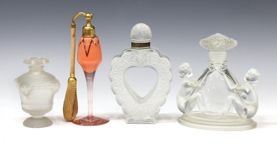 LALIQUE, DEVILBISS & FEMALE NUDE PERFUME BOTTLES