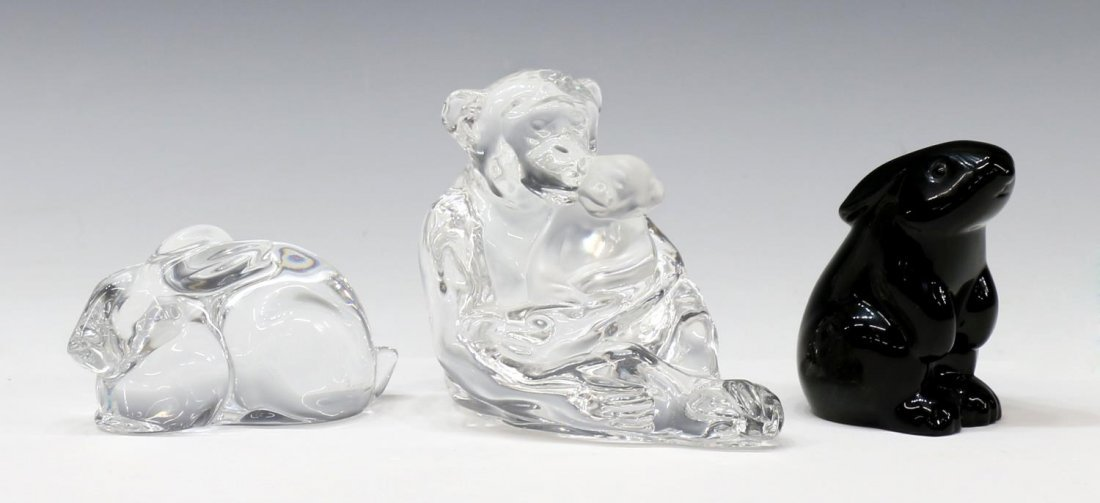 (3) GROUP BACCARAT & ST. LOUIS ART CRYSTAL ANIMALS