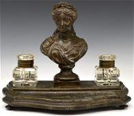 CONTINENTAL FIGURAL BUST DOUBLE INKWELL