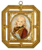 MINIATURE PAINTING, YOUNG GIRL IN BRITISH UNIFORM